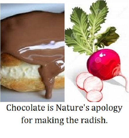 chocolate radish with words
