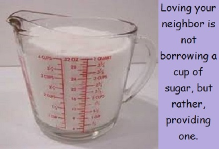cup of sugar with words