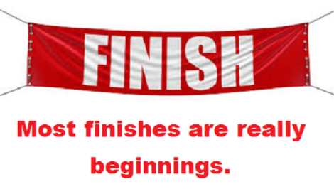 finish line banner with words