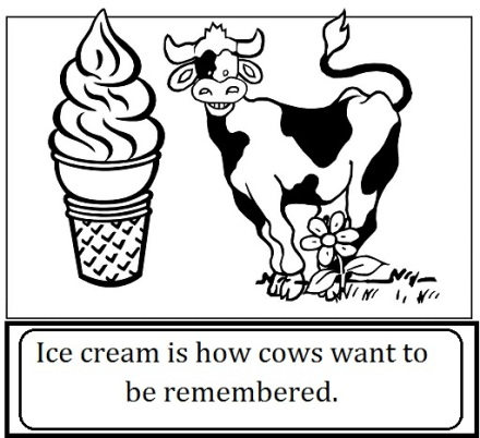 cow and ice cream with words