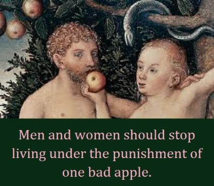 Adam and Eve apple with words