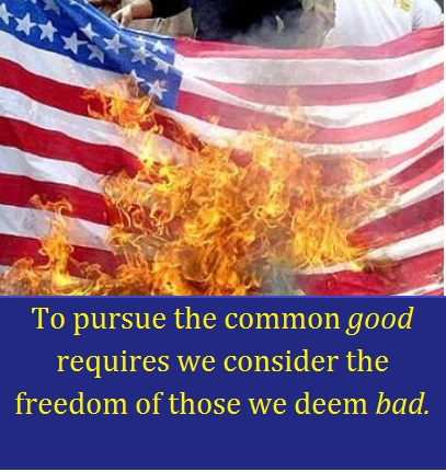 Burning American flag with words