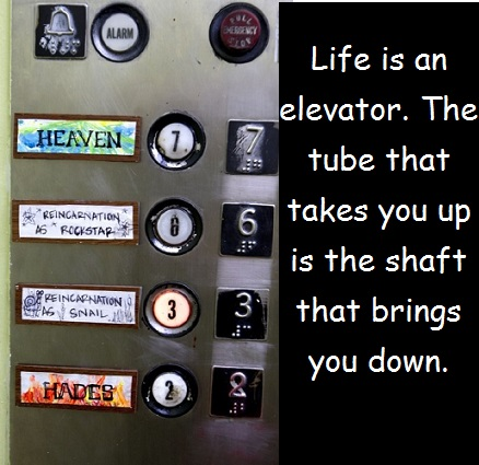 elevator with words