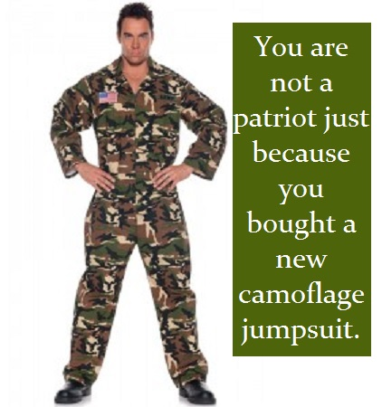 camo suit with words