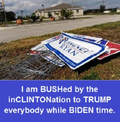 discarded campaign sign with words