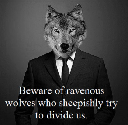 wolf in a suit with words
