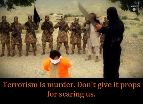terrorist with sword with words