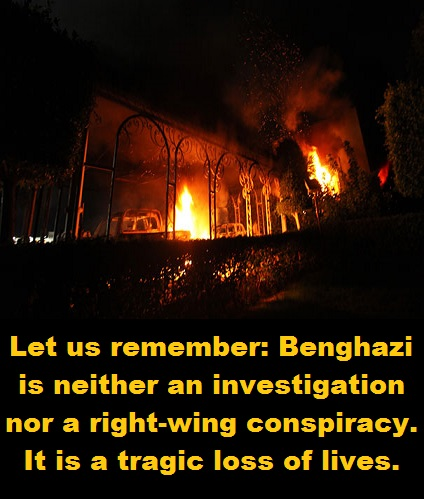 Benghazi burning with words