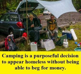 camping misery with words