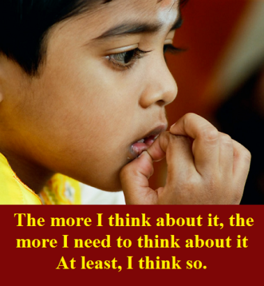 contemplative child with words