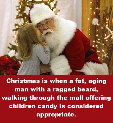 Santa and kid with words