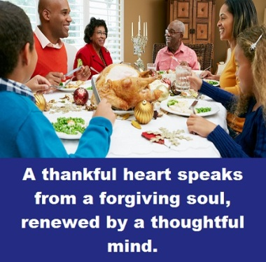 Thanksgiving dinner with words