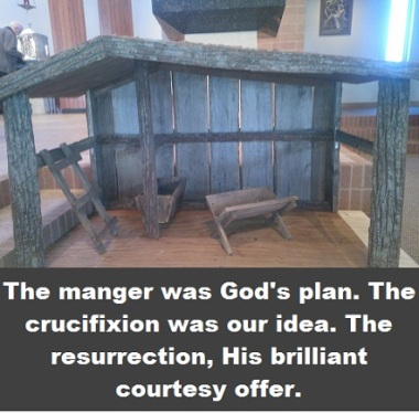 empty manger with words