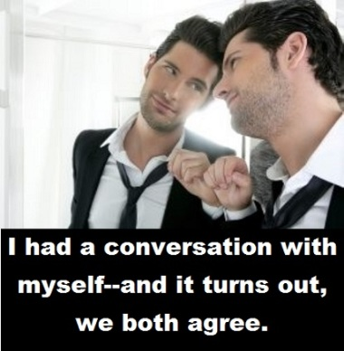 guy in the mirror with words