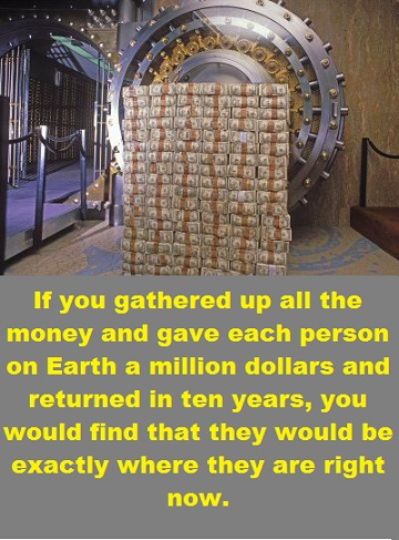 bank vault of money with words