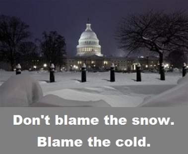 white house in snow with words