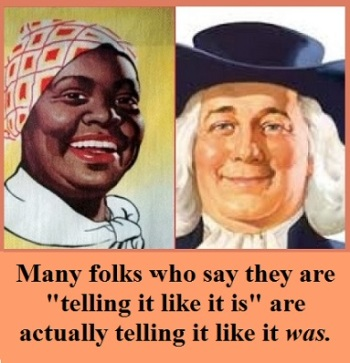 auntie and quaker guy with words