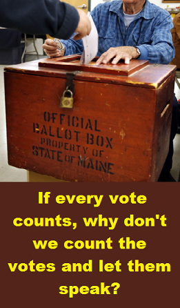 Ballot box with words
