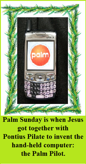 palm pilot with words