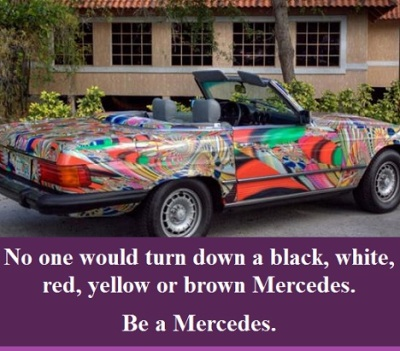 psychedelic mercedes with words