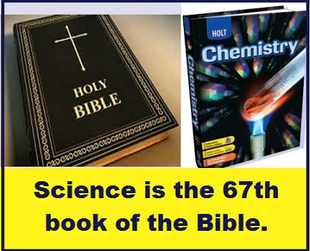Bible and chemistry book with words