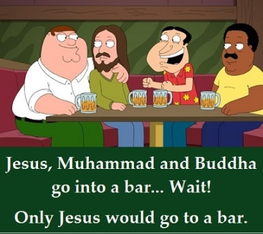 Jesus in a bar with words