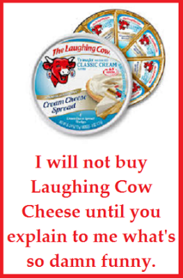 laughing cow cheese with words