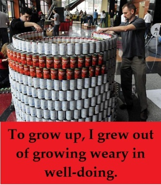 stacking cans with words