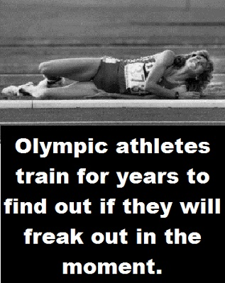Olympic runner with words
