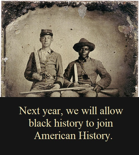 Black and white Civil War soldiers